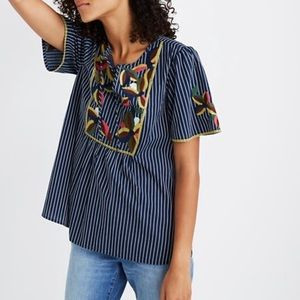 Madewell navy blue striped Fable embroidered top